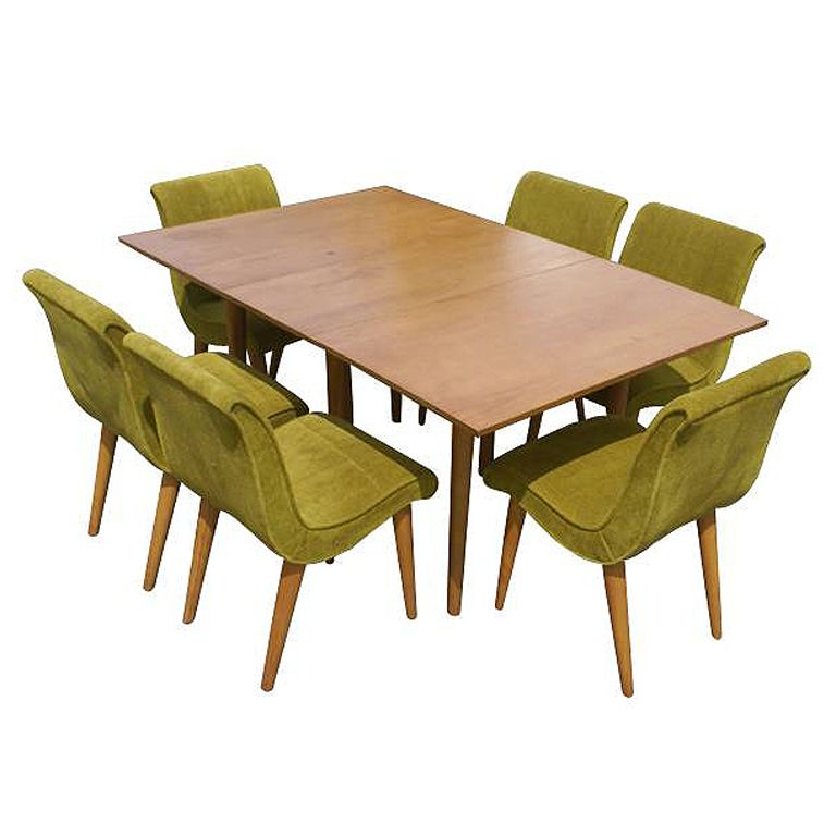 Russel Wright For Conant Ball Dining Table And Six Chairs