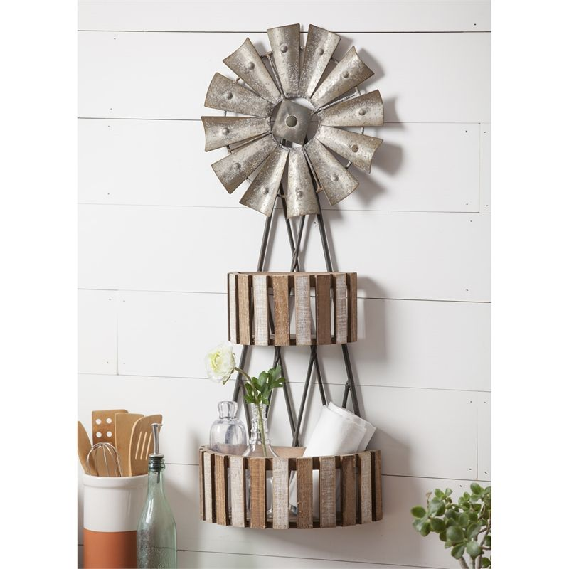 Windmill 2 Tier Wall Shelf Made Of Metal And Wood Farmhousedecor Metal Wall Decor Industrial Farmhouse Decor Wall Decor