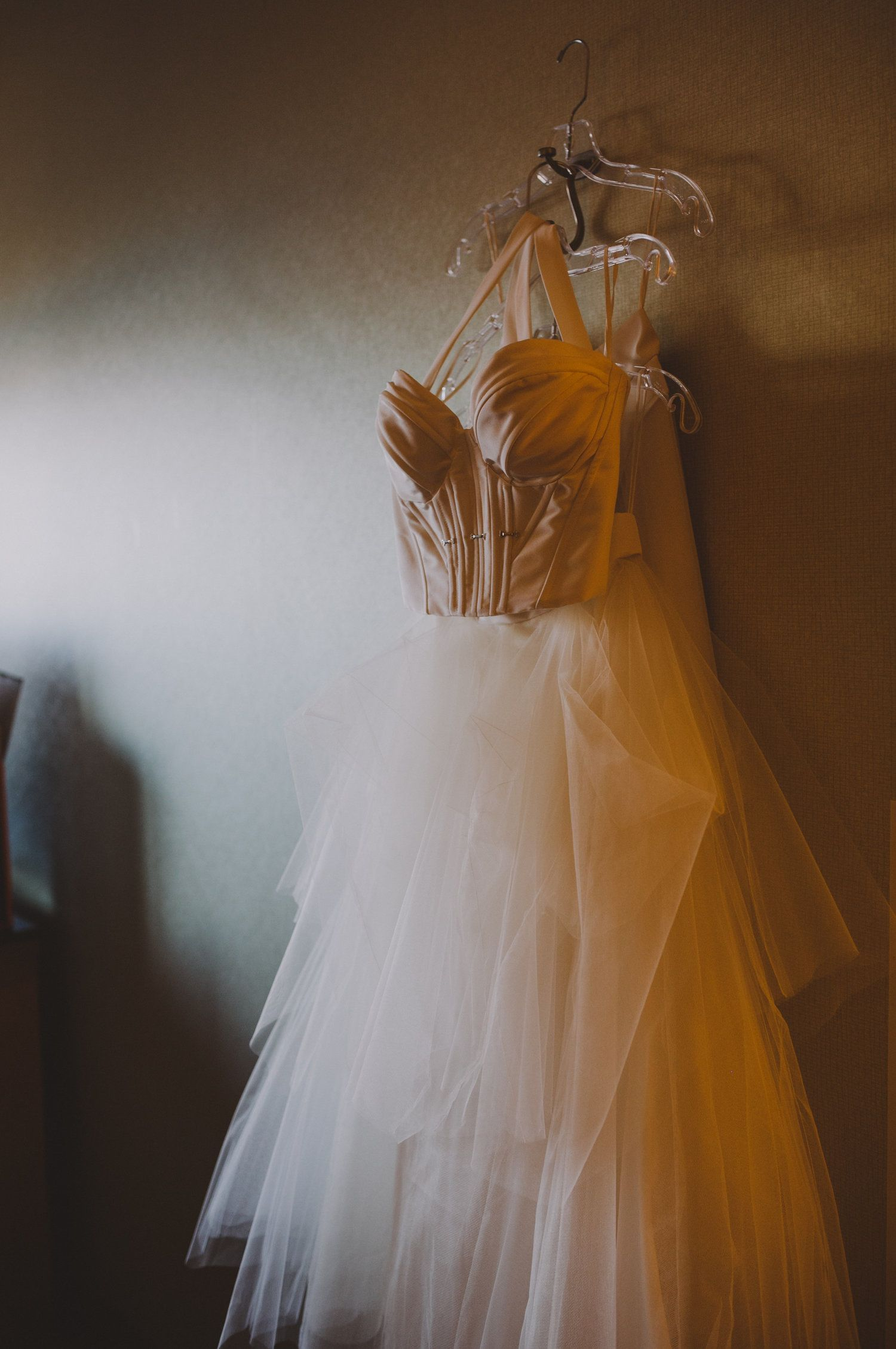 Real Weddings: Meet Caitlin. Carol Hannah Le Etoille bustier and Le Ciel skirt and custom tulle skirt