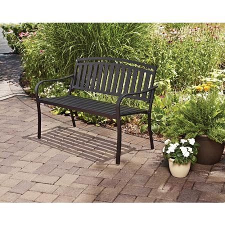 Mainstays Slat Garden Bench Black Slat Garden Bench Outdoor