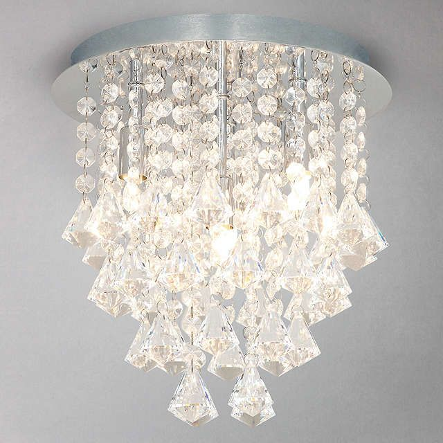 Crystal Chandelier Chandeliers With Large White Shade And Blue Crystal Hearts H15