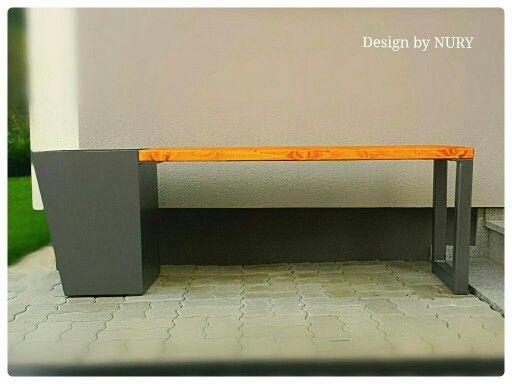 475 gartenbank mit pflanzk bel stahl mit holz. Black Bedroom Furniture Sets. Home Design Ideas