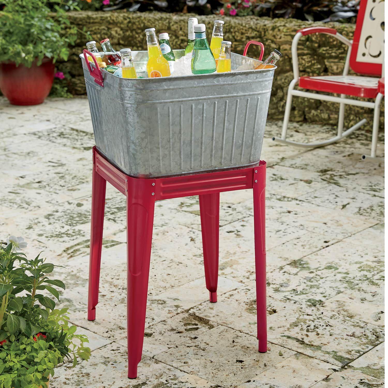 Washtub Beverage Stand Wash Tubs Decor Metal Tub