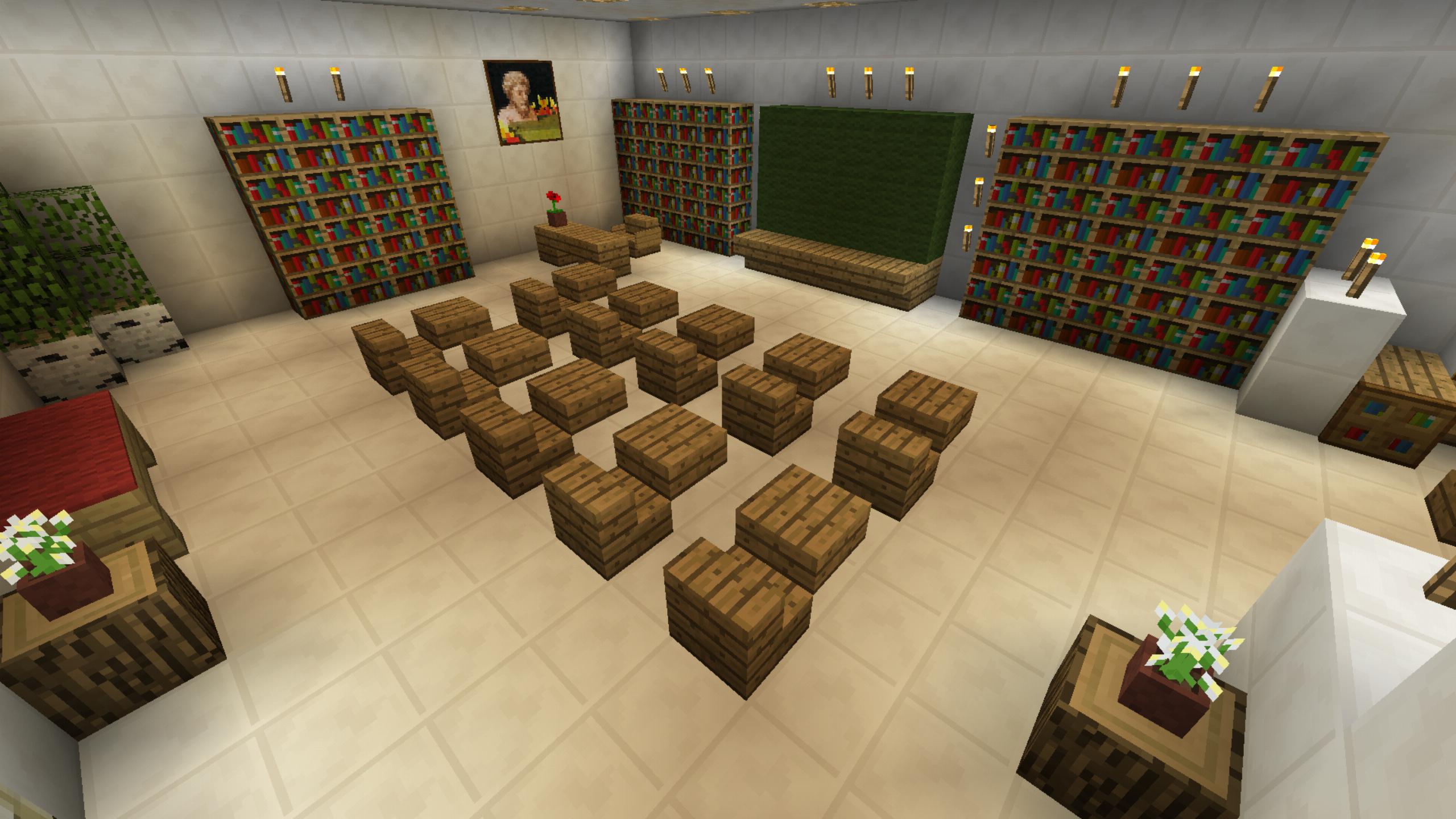 Minecraft School Classroom Desk Lab Furniture Minecraft School Minecraft Room Minecraft Designs