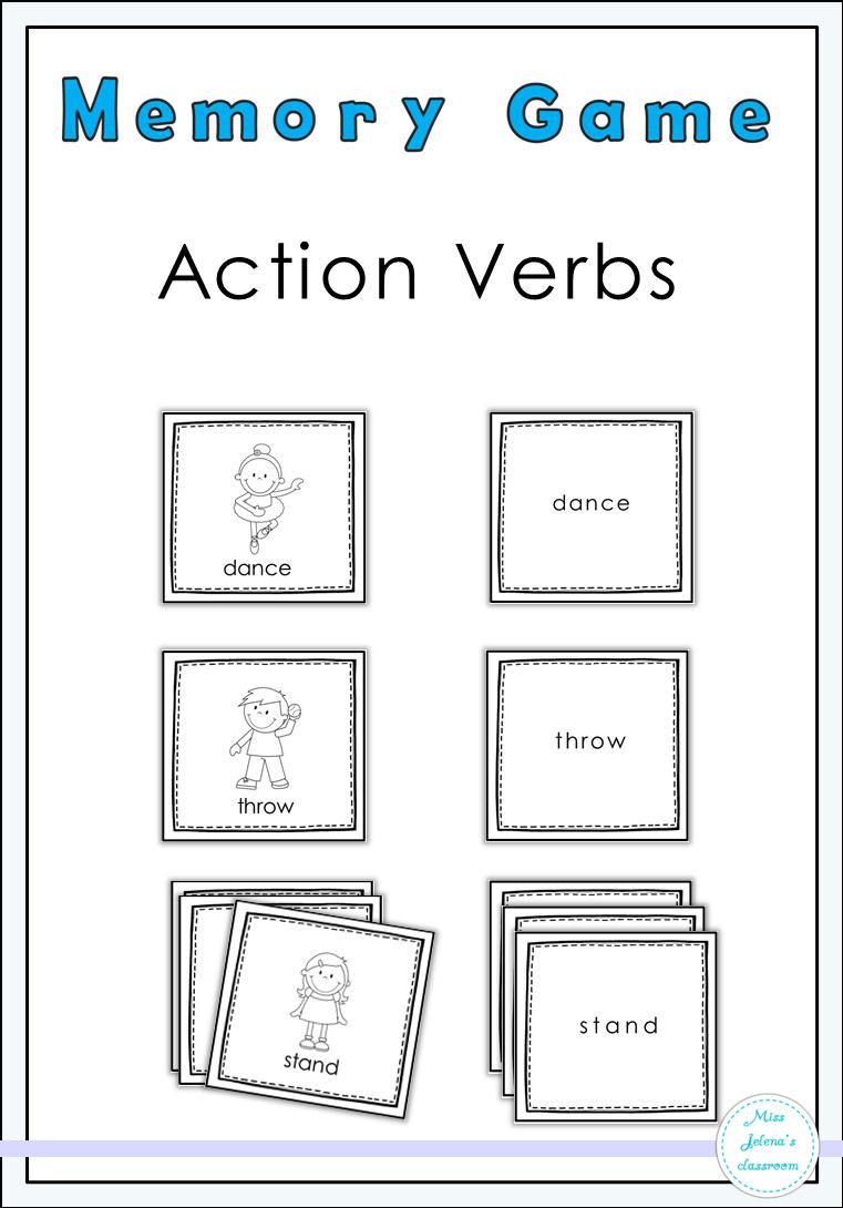 Action Verbs Memory Game Action Verbs Memory Games School Worksheets [ 1090 x 761 Pixel ]