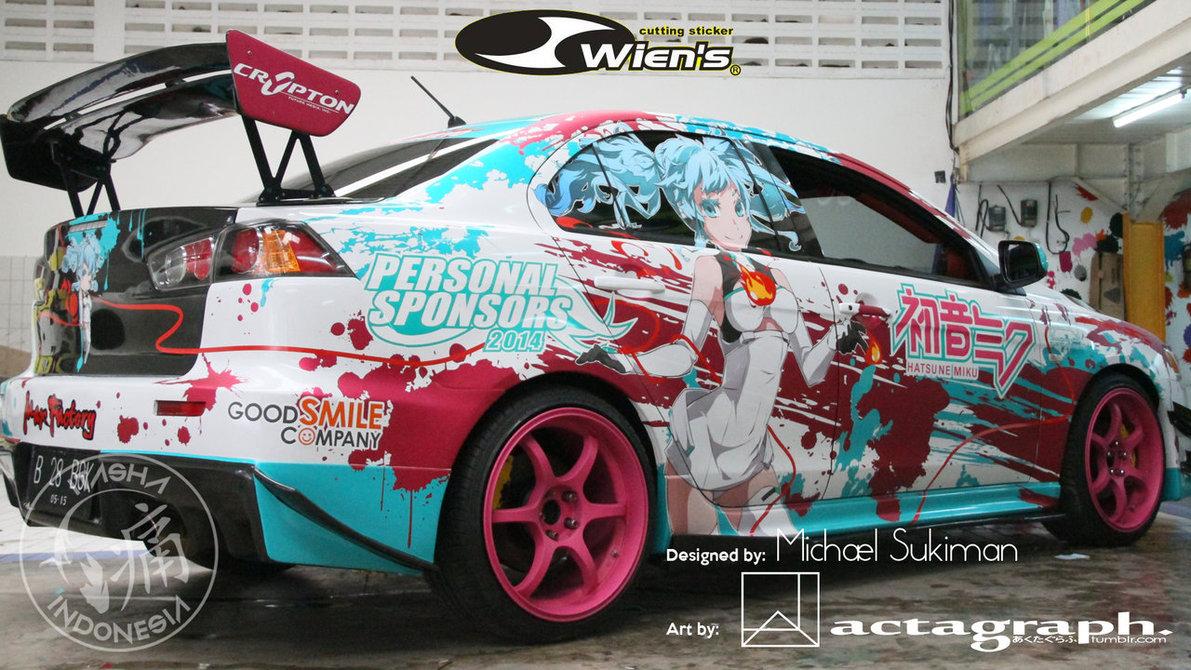 2010 Mitsubishi Lancer EX featuring 2014 Racing Miku