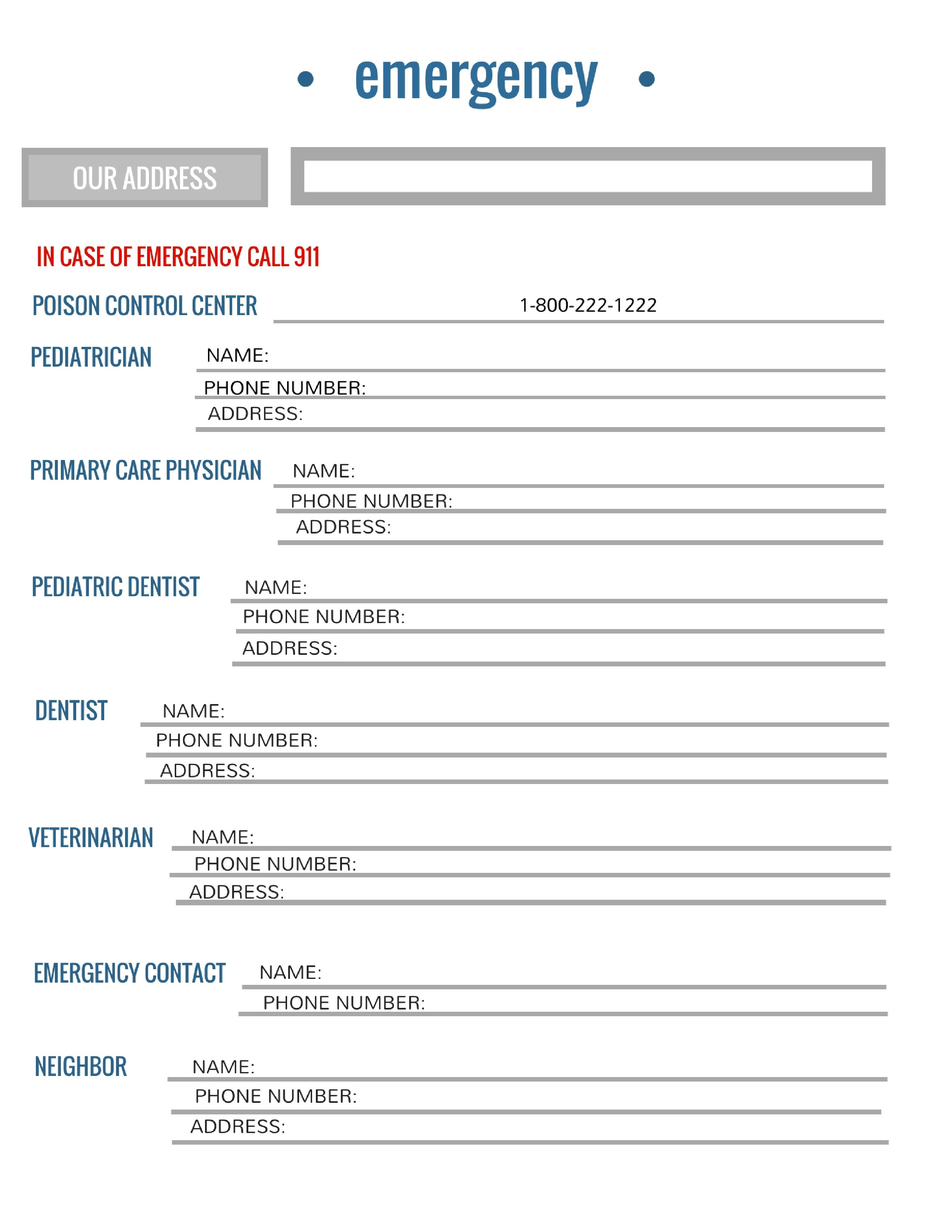 Free Printable Emergency Contact List For Families