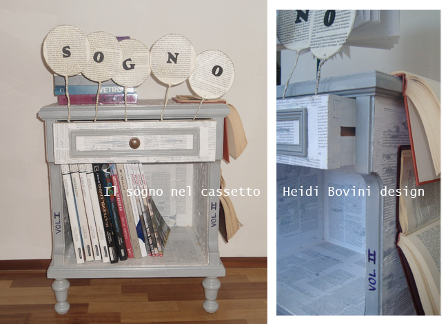 """Titolo: """"Il sogno nel cassetto"""" - Autrice: Heidi Bovini. Ho interpretato il libro traformandolo nel decoro di un mobile surreale che diventa portatore di un messagio: il libro come mezzo per far uscire i propri sogni dal cassetto. Visita il blog http://blog.designdingegno.it/"""