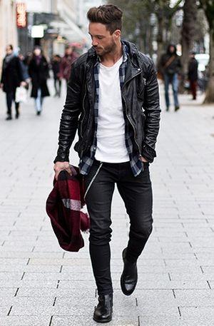 Blouson cuir homme mont noir