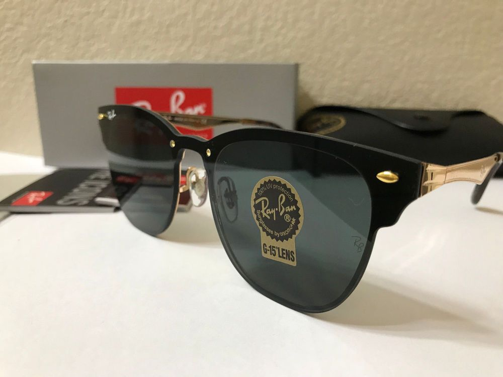 bd1b7953ba28d fashion RAY-BAN Blaze CLUBMASTER SUNGLASSES Gold Frame Green Classic Lenses  size 47MM