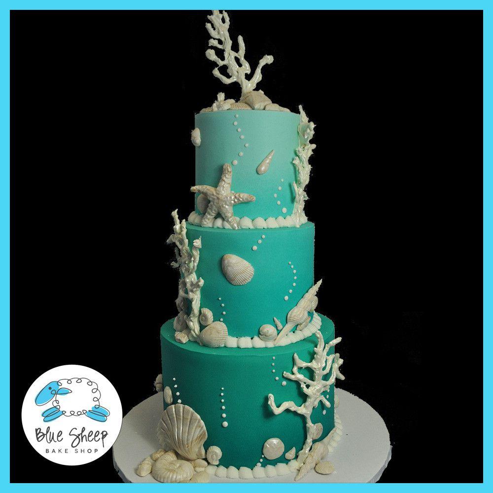 Under the sea wedding decoration ideas  Ombre Under the Sea Wedding Cake  Sweet Treats  Pinterest