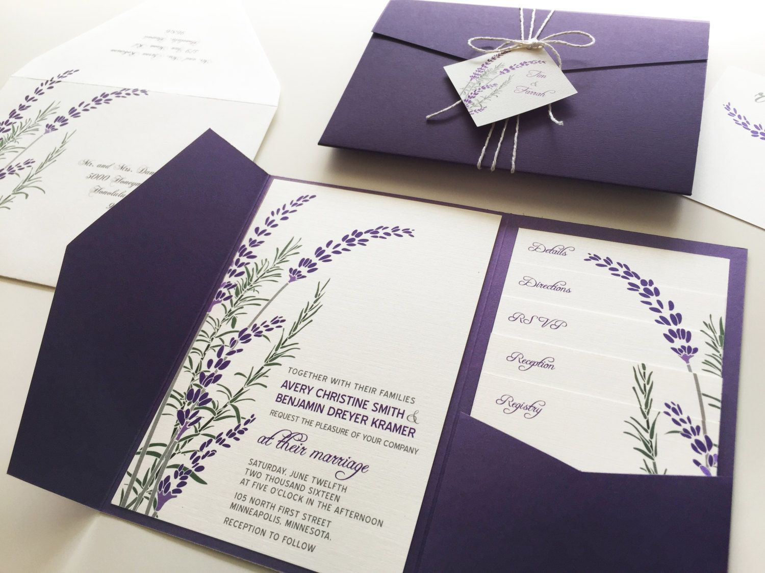 Lavender Wedding Invitation Sample Purple Pocketfold by vohandmade ...