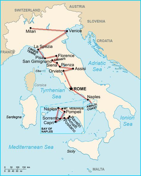 Italy 2 Week Itinerary With Tuscany Map Ct And Tuscany Mit