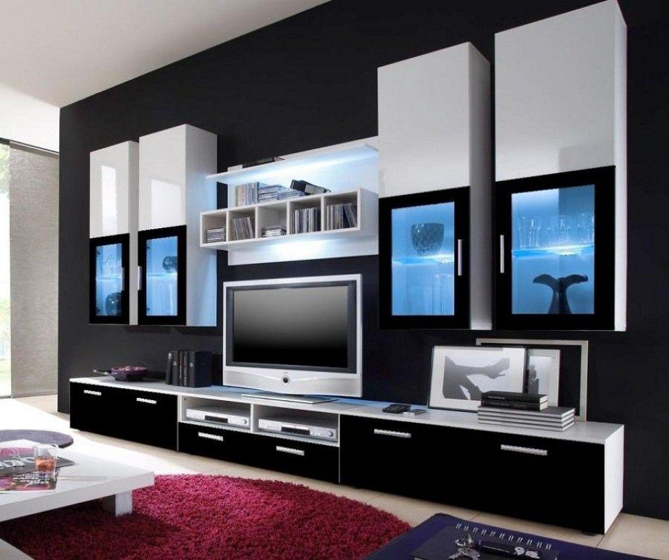 Meuble TV- Modèle London: - 4 x armoires suspendues - 1 x Etagère ...