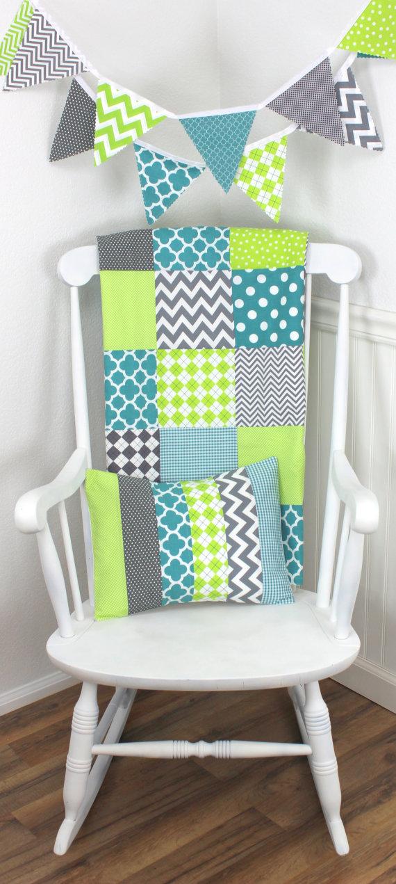 Baby Boy Blanket Nursery Decor Minky Crib Chevron Teal Blue Lime Green Gray Grey Argyle Dots