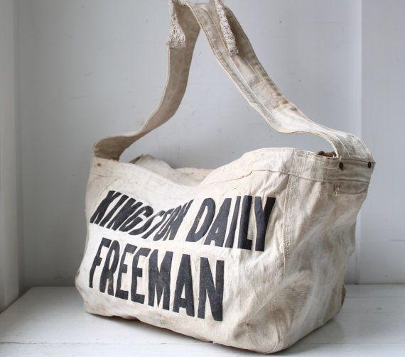 Vintage 1950s Newspaper Bag Kingston Daily Freeman Delivery Bag Black On White Canvas Shoulder Bag Hobo Messenger Book Bag Newspaper Bags Bags Delivery Bag