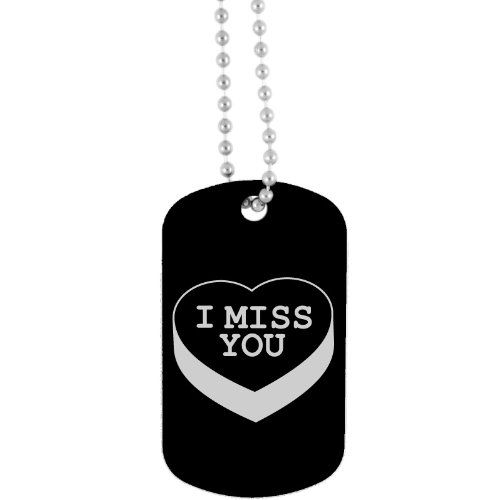 I Miss You on Heart Candy design on a Black Dog Tag - http://www.thepuppy.org/i-miss-you-on-heart-candy-design-on-a-black-dog-tag/