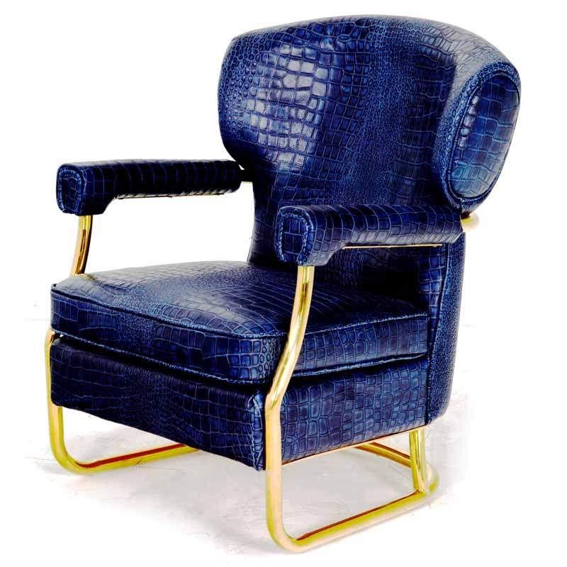 Best Presley Armchair Armchair Blue Leather Brass Frame 400 x 300