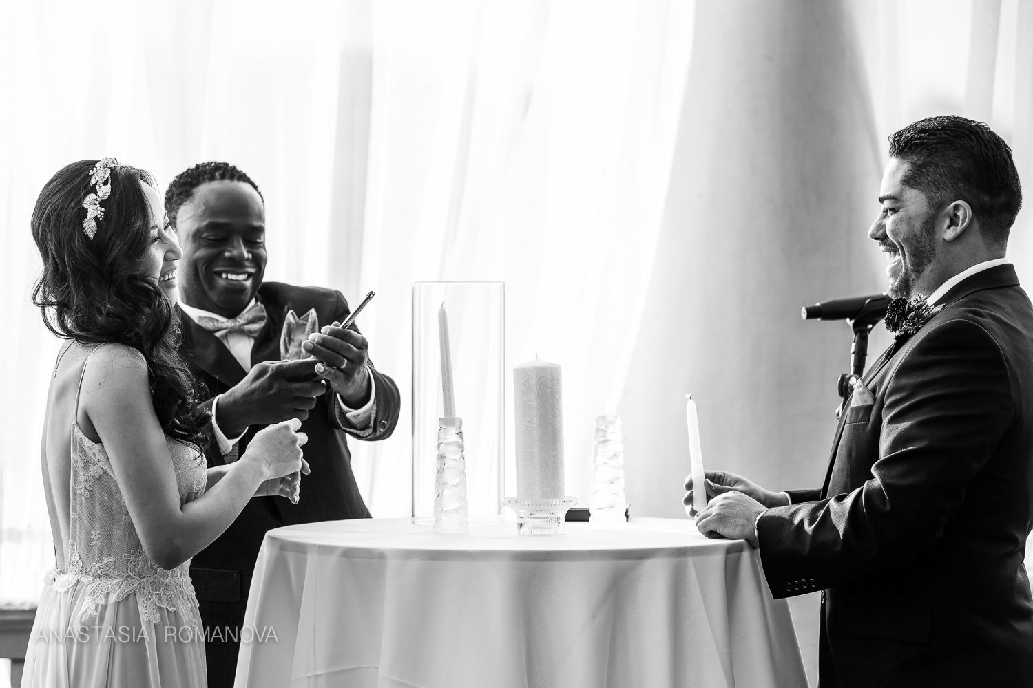 Unity candle ceremony at Water Works, Philadelphia | bride and groom ...