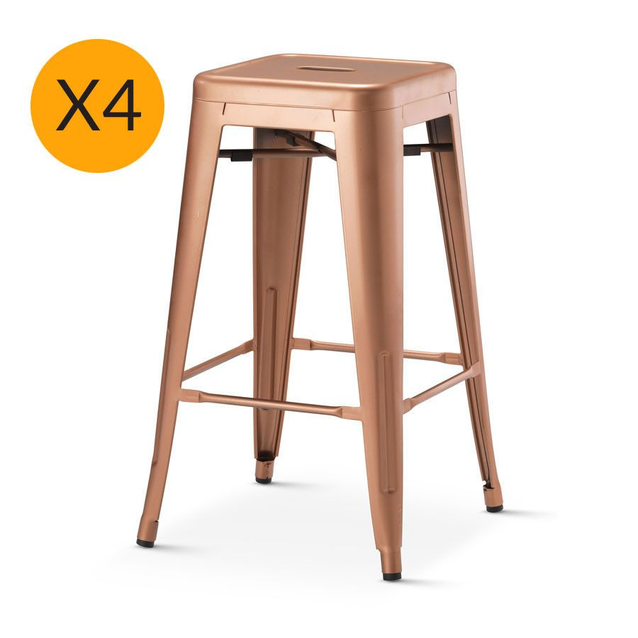 Tolix X4 Replica Xavier Pauchard Stool 65cm New Copper – Black ...