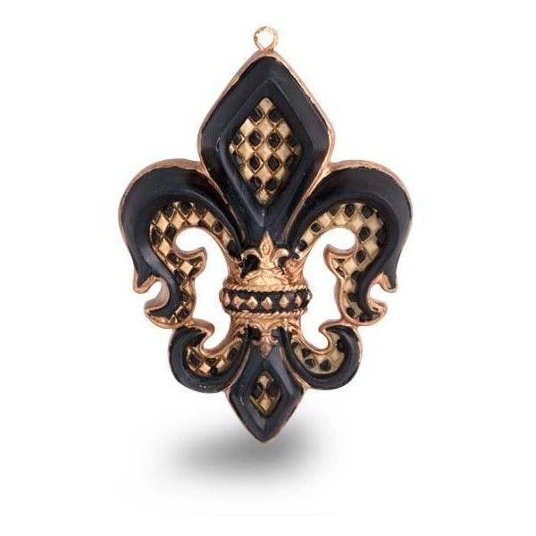 Black Gold Diamond Fleur De lis Ornament liked on Polyvore ...