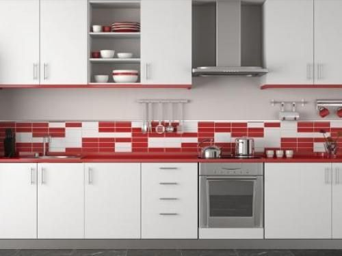White And Red Tile Backsplash Kitchen Armada Furniture Dapur