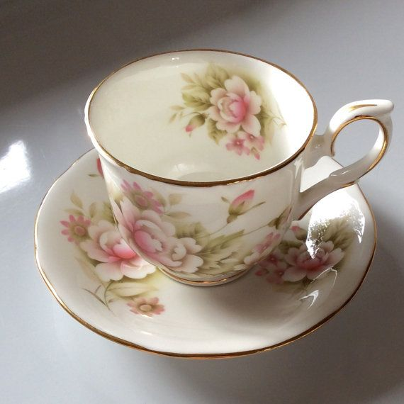 Duchess Martine Bone China Cup and Saucer Floral Pattern Pink White Mothers Day Gift
