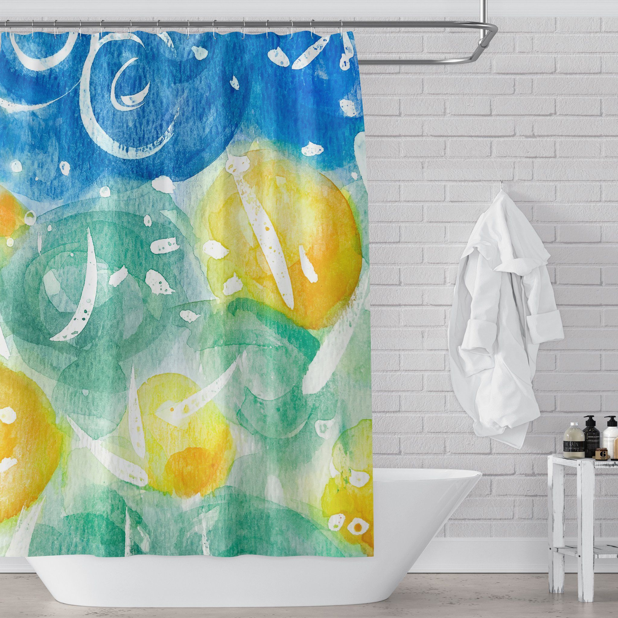Field Of Sunshine Bright And Colorful Watercolor Art Shower Curtain In 2020 Floral Bathroom Ideas Watercolor Shower Curtain Kid Bathroom Decor