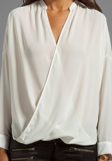b2aab01558ebe3 EIGHT SIXTY Wrap Blouse in White - Eight Sixty | BLUSA