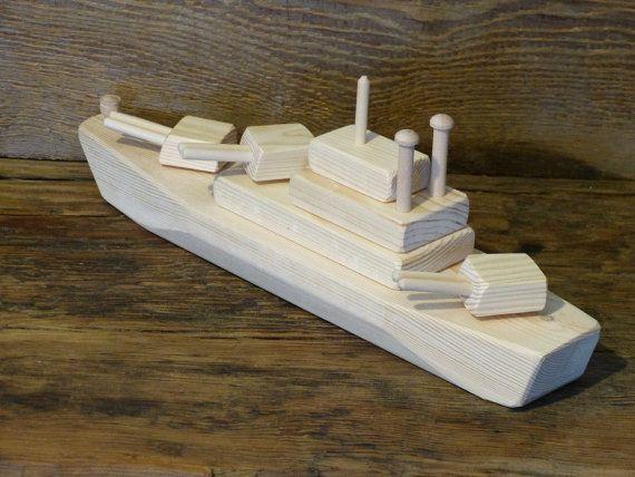 Wood Toy Battleship WW2 Wooden Toys ship Navy Handmade Eco friendly ...