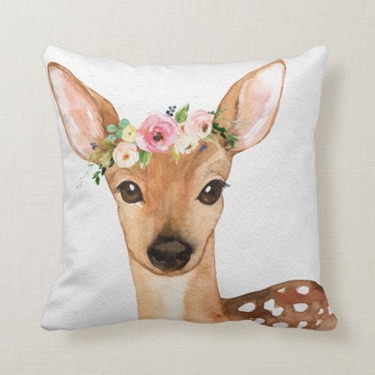 Boho Woodland Deer Baby Girl Nursery Floral Pillow | Zazzle.com #kinderzimmermädchen