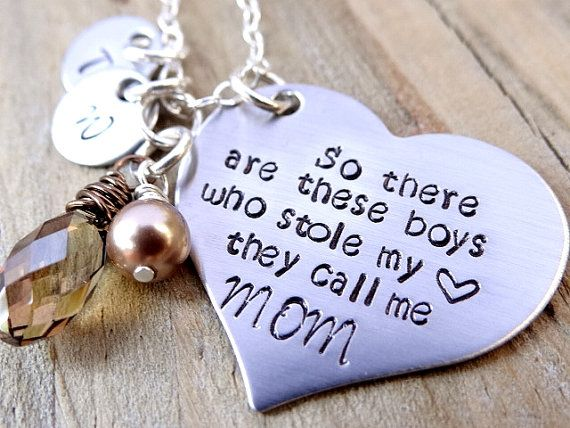 Mother's Necklace - So There Are These Boys Who Stole My Heart They Call Me Mom - Mother's Jewelry with Initials. Gift For Mom. New Mom.