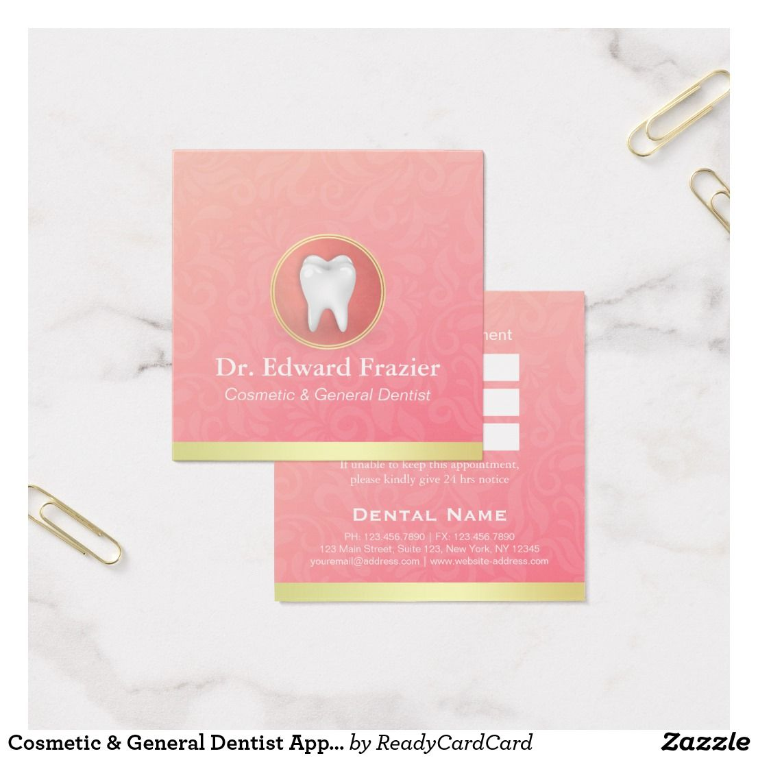 Cosmetic general dentist appointment gold pink dental business cosmetic general dentist appointment gold pink square business card colourmoves