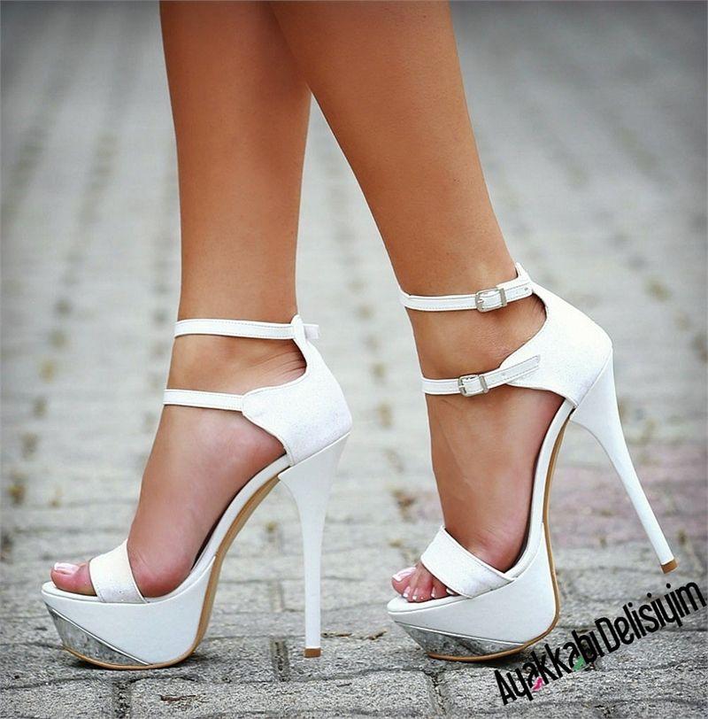 Beyaz Simli Platform Topuklu Abiye Ayakkabi Topuklular Platform Topuklu Ayakkabi Topuklu Ayakkabilar