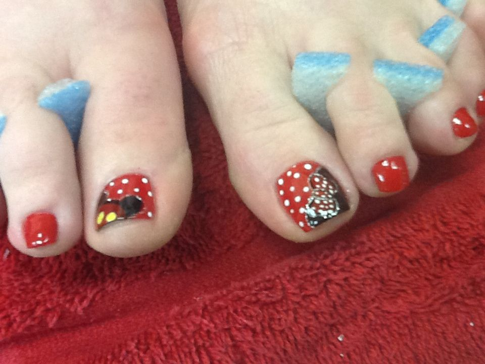 Mickey and mimi mouse nails design   Nails   Pinterest   Uñas pies