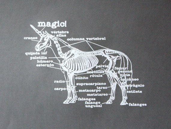 Unicorn Poster - Unicorn Skeleton Screen Printed Poster. $18.00, via Etsy.
