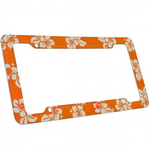 Orange Hawaiian Style License Plate Frame | Hawaiian License Plate ...
