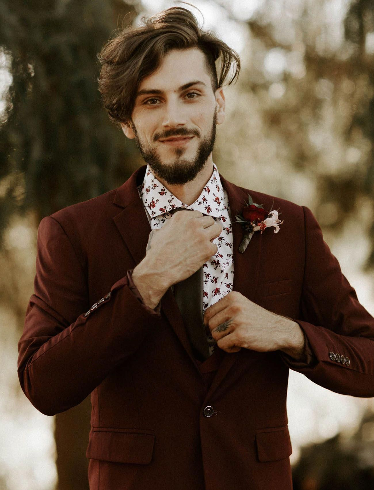 Moody edgy red burgundy grooms suit MensFashionEdgy