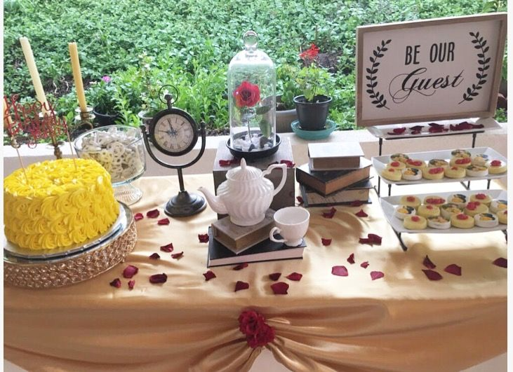 Be our guest beauty and the beast beauty and the beast for Beauty and beast table decorations