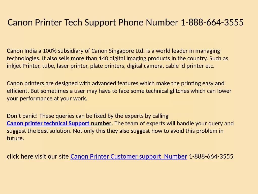 Canon Printer Technical support number 1-888-664-3555 (deniumr) on