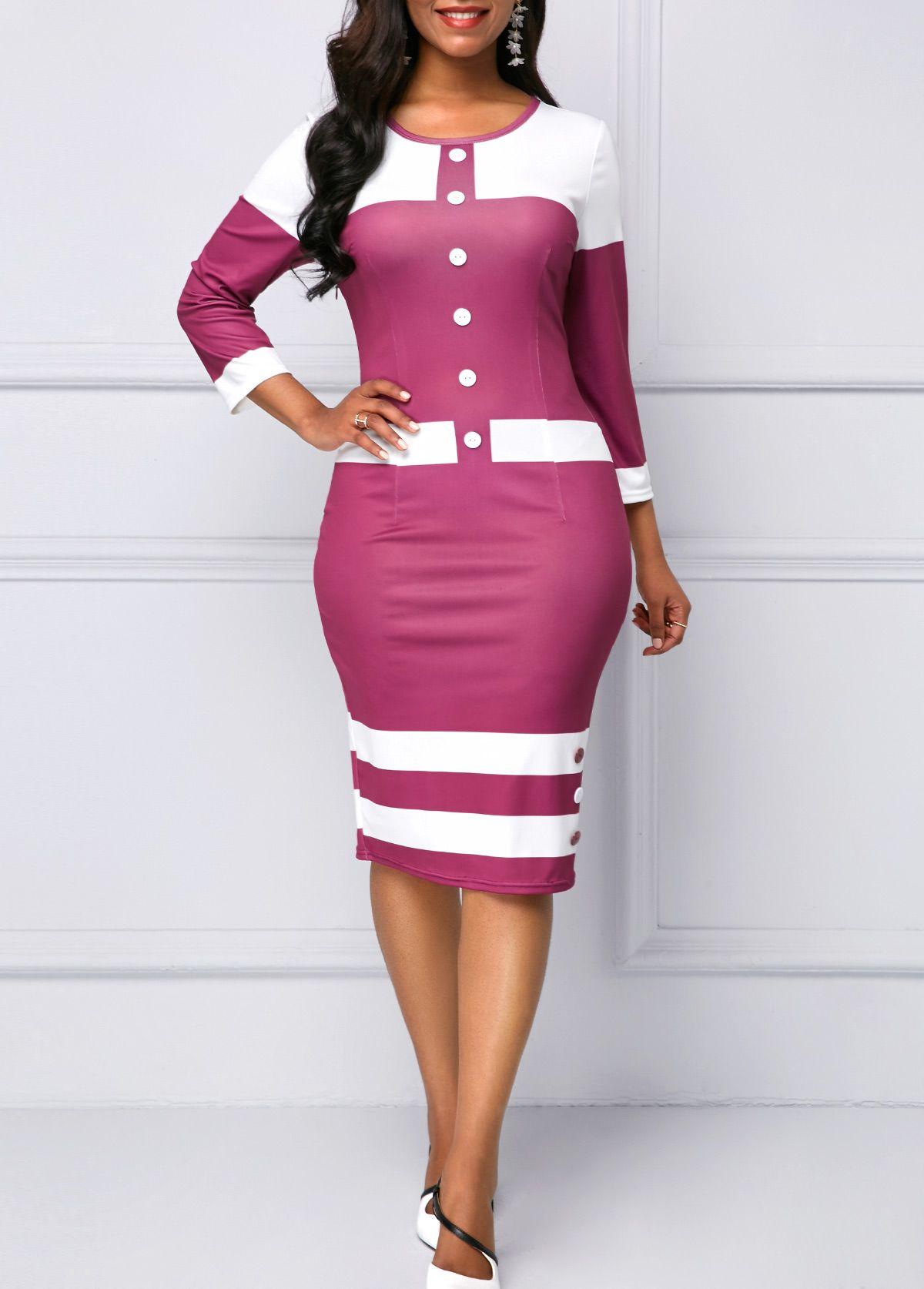 Button Detail Three Quarter Sleeve Striped Purple Dress  5dd9b27d9