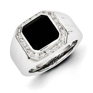 Mens Black Onyx 115 Carat Diamond Ring In Sterling Silver