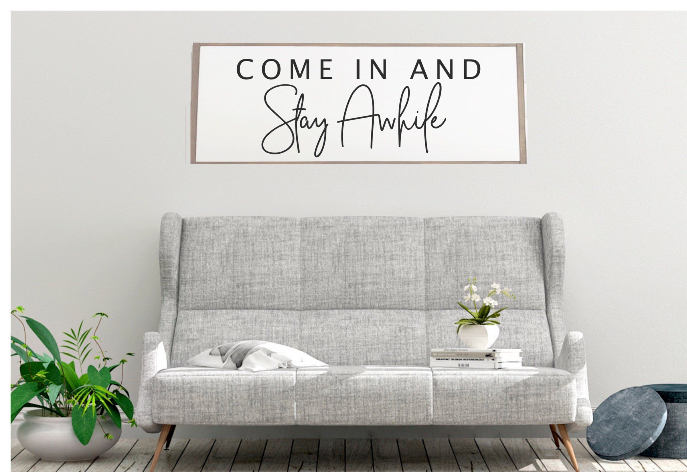 Stay Awhile Sign Stay Awhile Wood Sign Living Room Wall Etsy Wall Decor Living Room Living Room Decor Living Room Wall