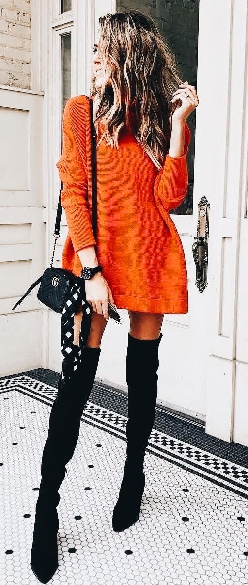 cc154c43d5c0 Cute orange sweater dress with black suede OTK boots.