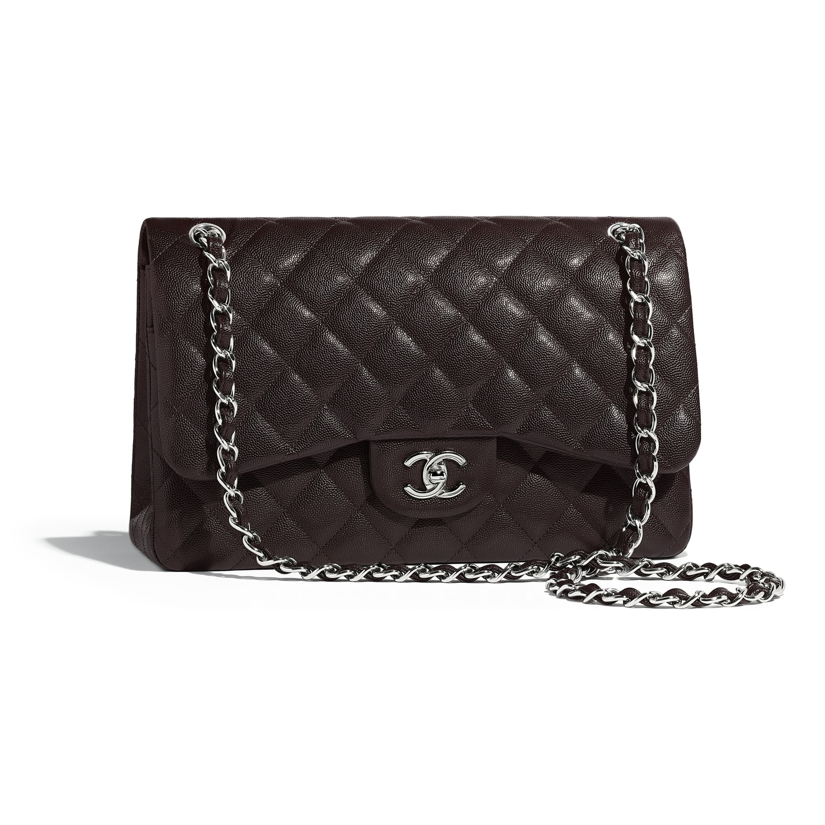 c6fbb2ced67b Chanel - PRE FW2018/19 | Grained calfskin & silver-tone metal brown large  classic handbag ($5,900)