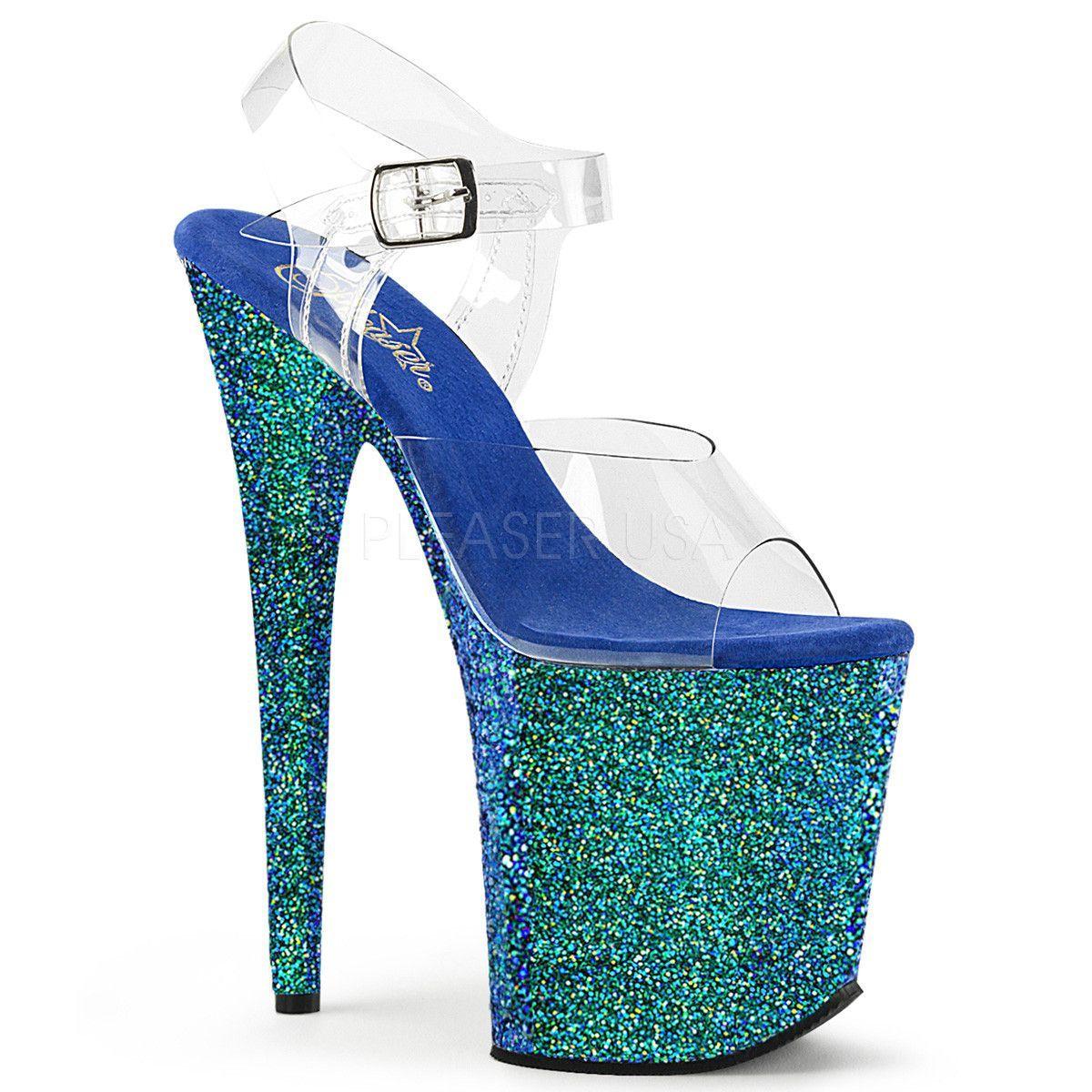 Pleaser FLAMINGO-808LG Blue Holographic Glitter Ankle Strap Sandals