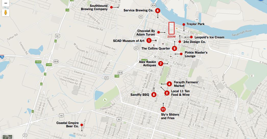 36 Hours In Savannah Savannah Chat Travel Interactive Map