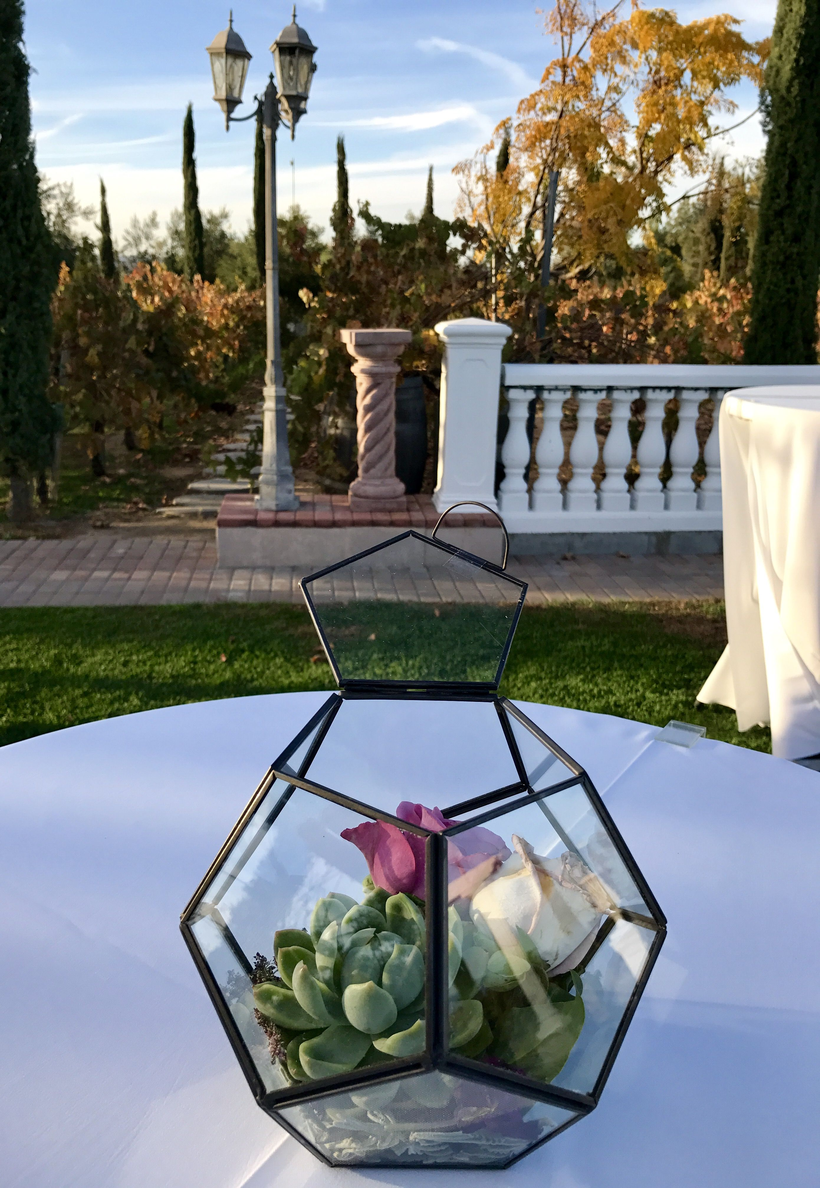 Geometric modern decor for the Cocktail tables. Temecula
