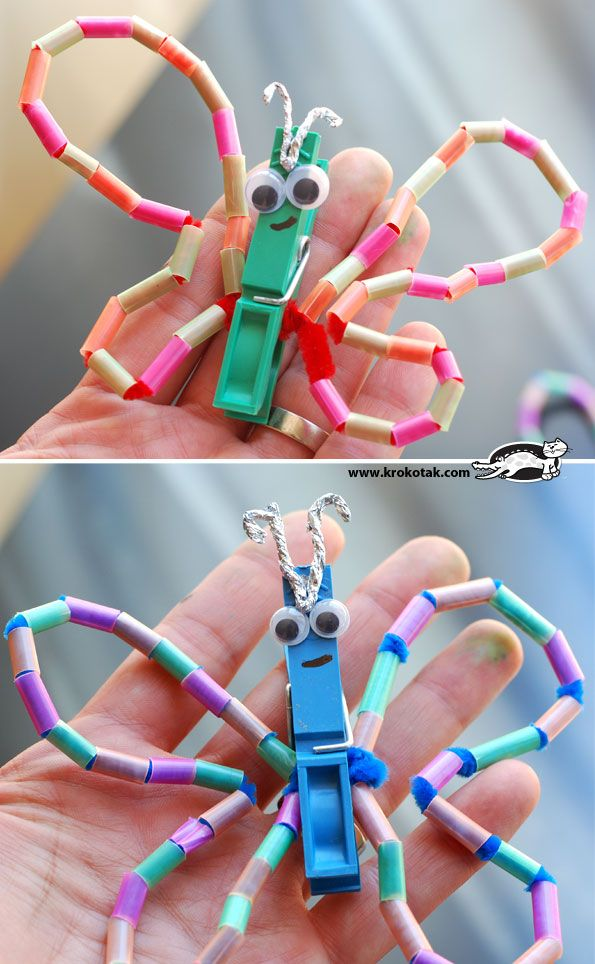 DIY butterfly straws - drinking straws cut to be beads. Threaded on pipe cleaners so they will hold their shape when held in the clothespin (butterfly body)