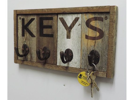 Rustic Wall Mounted Key Hook Rack Wooden Key Chain Holder Decorative Car Keychain Ring Hanger Unique Home Storage Organizer For Wall Rustic Reclaimed Wood Barn Wood Projects Key Holder Diy